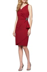 Alex Evenings Women's Side Ruched Dress Cranberry