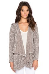 Bobi Boucle Hooded Open Front Cardigan Taupe