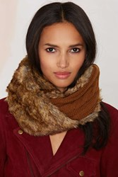 Nasty Gal Jaime Faux Fur Cable Knit Infinity Scarf