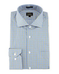 Neiman Marcus Classic Fit Regular Finish Plaid Dress Shirt Blue Yello
