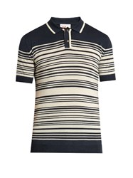 Orley Brooks Striped Polo Shirt Navy Stripe
