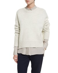 Vince Knit Drop Shoulder Pullover Sweater Winter White
