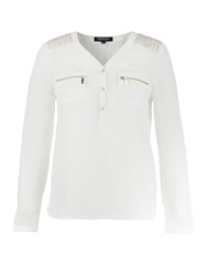 Morgan Blouse Style Studded Shoulder Top White