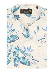 New And Lingwood Brentford Botanical Print Shirt White