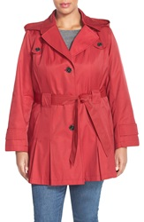 Via Spiga 'Scarpa' Single Breasted Hooded Trench Coat Plus Size Rebel Red