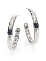 John Hardy Palu Black Sapphire And Sterling Silver Medium Hoop Earrings 2 Silver Black