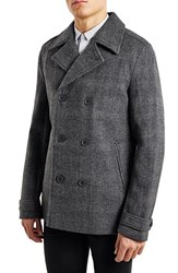 Men's Topman Glen Plaid Wool Blend Peacoat