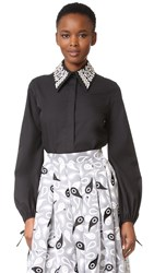 Holly Fulton Embroidered Collar Shirt Black White
