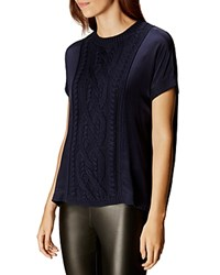 Karen Millen Cable Knit Detail Tunic Navy