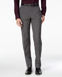 Bar Iii Men's Slim Fit Charcoal Check Dress Pants Only At Macy's Gray