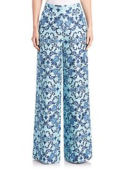 Escada Printed Silk Wide Leg Pants Blue