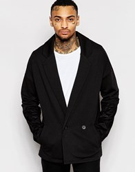 Asos Longline Oversized Jersey Blazer With Faux Suede Panels Black