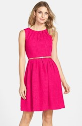 Petite Women's Ellen Tracy Belted Herringbone Stretch Fit And Flare Dress Pink