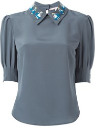 Olympia Le Tan Alice In Wonderland Patch Blouse Grey