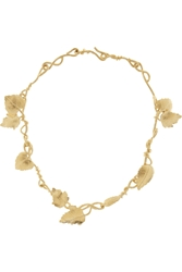 Aurelie Bidermann Tangerine Gold Plated Leaf Necklace