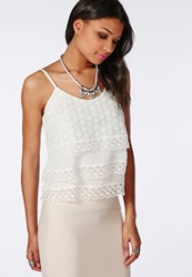 Missguided Flower Detail Layered Crop Top White White