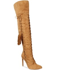 Chelsea And Zoe Petricia Fringe Lace Up Over The Knee Boots Women's Shoes Camel