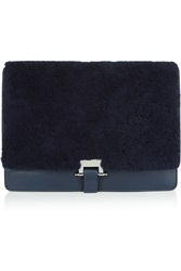 Sandro Adyl Shearling And Leather Clutch Blue