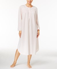 Miss Elaine Brushed Honeycomb Knit Nightgown Peach