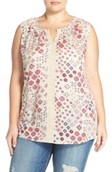 Caslonr Plus Size Women's Caslon Lace Trim Print Woven Split Neck Tank Beige Purple Geo