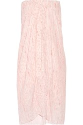 Hatch Panama Strapless Wrap Effect Printed Crepe Dress Pink