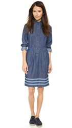 Paul Smith Shirtdress With Triple Stripes Navy