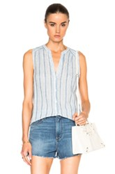 Paige Denim Bonnie Top In Blue Stripes
