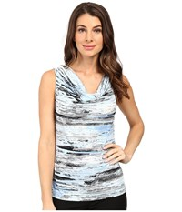 Calvin Klein Printed Cowl Neck Tin White Women's Sleeveless Gray