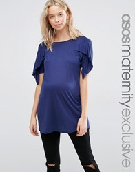 Asos Maternity T Shirt With Ruffle Sleeves Navy