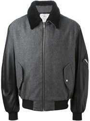 Mcq By Alexander Mcqueen Mcq Alexander Mcqueen Leather Sleeve Bomber Jacket Grey