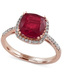 Effy Collection Rosa By Effy Ruby 3 1 8 Ct. T.W. And Diamond 1 4 Ct. T.W. Ring In 14K Rose Gold Red