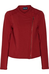 Splendid Frankie Cotton And Modal Blend Biker Jacket Red
