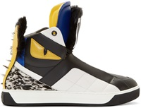 Fendi Black Leather And Fur Bugs High Top Sneakers
