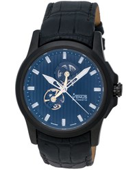 Venus Of Switzerland Time Open Gent Automatic Skeleton Watch W Leather Strap Black