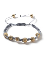 Topman Grey Fabric And Gold Look Pave Ball Bracelet
