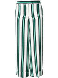 Salvatore Ferragamo Striped Wide Leg Trousers White