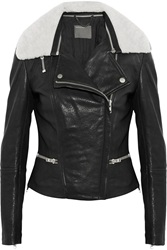 Muubaa Kavali Shearling Trimmed Leather Biker Jacket