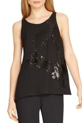 Halston Sequin Strappy Tank Black
