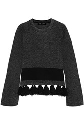 Proenza Schouler Tasseled Stretch Boucle Sweater Gray
