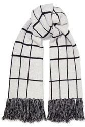 Rag And Bone Mallori Fringed Checked Merino Wool Scarf Ivory