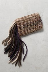 Anthropologie Fringed Yarn Clutch Black