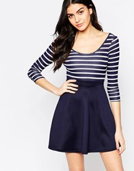 Club L Cross Back Skater Dress With Stripe Top And Contrast Skirt Red