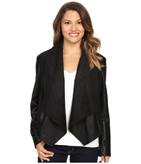 Kut From The Kloth Petite Ana Drape Front Ponte And Faux Leather Jacket Black Women's Coat