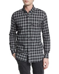 Belstaff Samuel Check Flannel Long Sleeve Shirt Black Gray Blk Grey