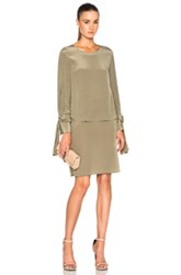 3.1 Phillip Lim Layered Long Sleeve Dress In Green