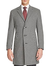 Canali Woven Overcoat Black White