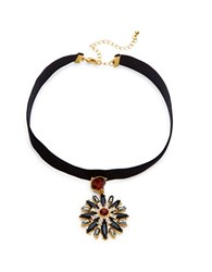 Design Lab Lord And Taylor Floral Statement Choker Necklace Black