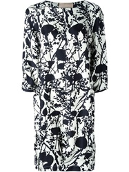 Erika Cavallini Semi Couture Allover Printed Loose Fit Dress White