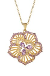 Savvy Cie 14K Yellow Gold Vermeil Amethyst And White Diamond Flower Pendant Necklace 0.10 Ctw Purple