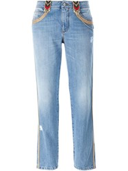 Ermanno Scervino Embroidered Trim Jeans Blue